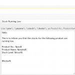 DukaPress Email Settings - low inventory warning